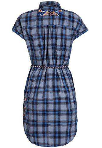 Vestido Corta Mujer Szzaqi Manga Para Camisa Cuadros Khujo Azul zqwTnXg