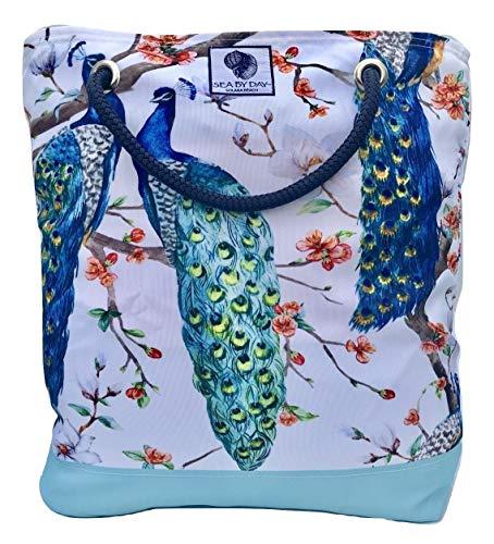 Peacock Fabric Handbags - Bucket Beach Bag, Pool Bag or Travel Tote- California Style Water Resistant (Peacock Snow Flurry)