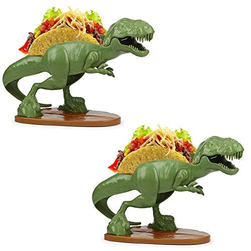 TACOsaurus Rex Taco Holder, Set of 2 - Dinosaur T-Rex Novelty Taco Stand Party Plate -