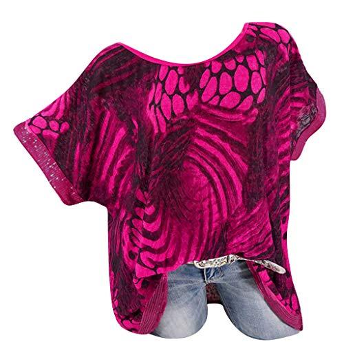 NCCIYAZ Womens T-Shirt Tops Ethnic Graffiti Printed Plus Size O-Neck Short Sleeve Ladies Oversized Blouse(3XL(16),Fuchsia-2)