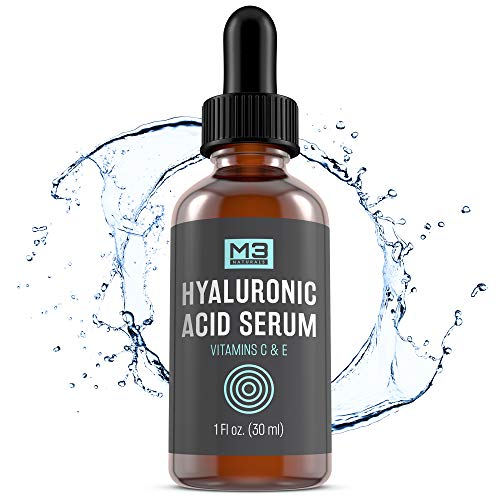 M3 Naturals Hyaluronic Acid Serum with Vitamin C for Face and Eyes Topical Facial Serum Natural Skin Care Anti Aging Anti Wrinkle Plumps Hydrates Fine Lines Vitamin E 1 FL OZ (Hyaluronic Serum Firming Acid)