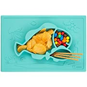 FULL SIZE 15  X 10  HEXATAL Aqua S-mat One Piece Silicone Suction Placemat + plate / bowl (Cyan)