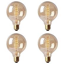 Juneslife Vintage E27 Edison Bulb Retro Lamp G80 40W Incandescent Decorative Filament Light Pack of 4 (Spiral Style)