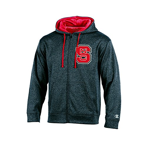 Champion (CHAFK) NCAA North Carolina State Wolfpack Adult Men Full Zip Hood with Contra, Small, ()