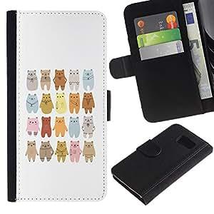 EuroTech - Samsung Galaxy S6 SM-G920 - Bear Art Drawing Lineup Cartoon - Cuero PU Delgado caso Billetera cubierta Shell Armor Funda Case Cover Wallet Credit Card