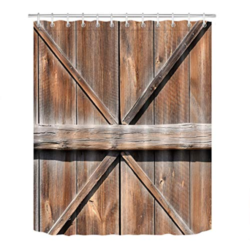 LB Old Rustic Western Country Farmhouse Cottage Barn Door Shower Curtain for Bathroom by, Vintage Wood Plank Texture, Anti Mold Water Resistant Healthy Fabric Decor Curtain, 72 x 72 by LB