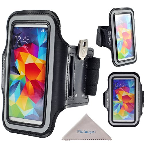 S5 Armband Case, Wisdompro Reflective Armband with Key Holder for Samsung Galaxy S5 and fits S4, S3, S5 Mini, S4 Mini, S3 Mini (Black)