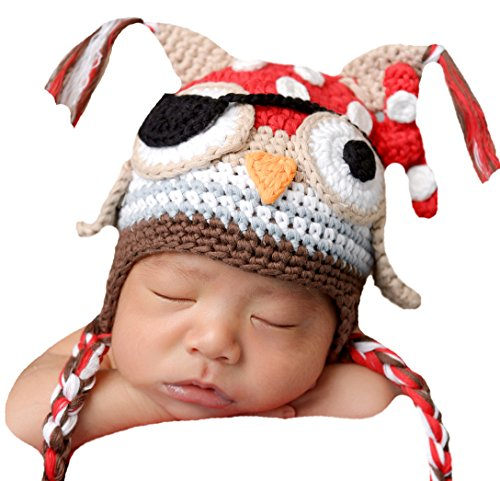 Melondipity's Baby Owl Pirate Hat for Baby and Toddler Boys (newborn)