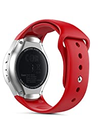 Gear S2 Watch Band (S2 SM-R720 / SM-R730 ONLY), MoKo Soft Silicone Replacement Sport Band for Samsung Gear S2 Smart Watch, NOT FIT S2 Classic (SM-R732 & SM-R735), NOT FIT Gear Fit2 Watch, RED