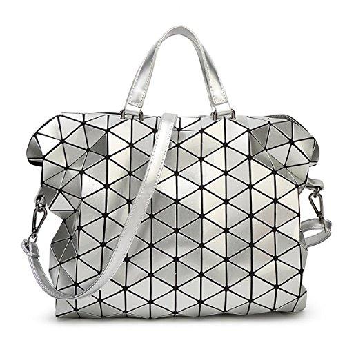 Geométrico Costura Moda Maletín Bolso De Las Señoras Nuevo Láser Hombro Bolso Silver