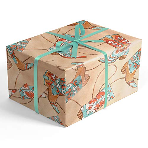 Cowboy Boots Kraft Folded Wrapping Paper, 2 feet x 10 feet Folded Cowboy Gift wrap with Coral and Aqua Cowboy Boots, Wrap & Revel® (Boot Gift)