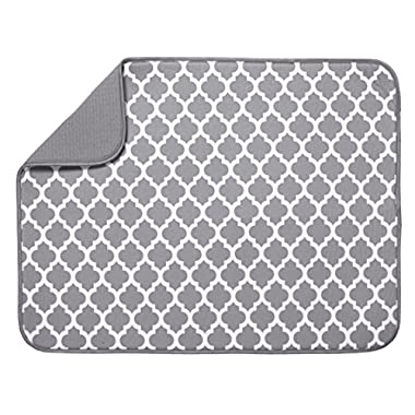 S&T Microfiber Dish Drying Mat - XL Gray & White Trellis - 18  x 24