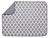 S&T XL Microfiber Dish Drying Mat, 18' x 24', White Trellis