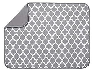 "S&T Microfiber Dish Drying Mat - XL Gray & White Trellis - 18"" x 24"""