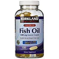 Kirkland Signature Enteric Coated Fish Oil Omega 3 1200 MG Fish Oil, 684 MG of Omega 3 Fatty Acids, 180 softgels