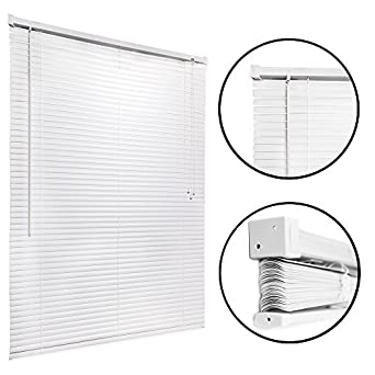 how to install mini blinds levolor mini blind 46x48 white easy to install kitchen home office windows shade amazoncom home