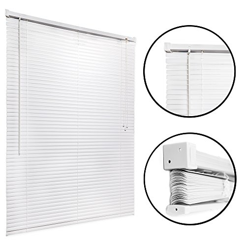 Mini Blind 46X48 - White - Easy to Install Kitchen, Home, Office Windows Shade with Pull Cord - Classic Style for Stationary or Sliding Frames - by Huntington