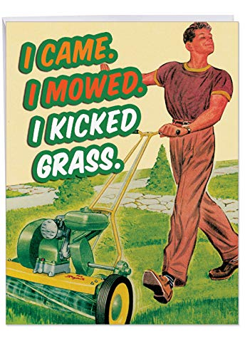 XL Funny Birthday Card for Father - 'K Grass' With Envelope 8.5 x 11 Inch - Big Happy Birthday Gift for Dad - Hilarious Greetings Card to Express Special Occasion Wishes J9725