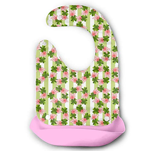 Baby Bib Soft Cotton Pig Four Leaf Clover - Blue/Pink/Red/White (Red Clover Christophers)