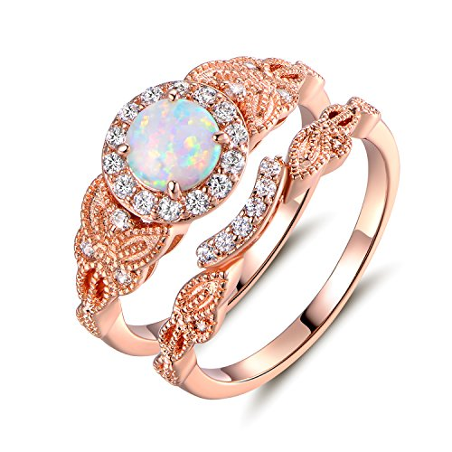 (Barzel Rose Gold Plated Created Fire Opal & Cubic Zirconia Engagement Ring Set (10))