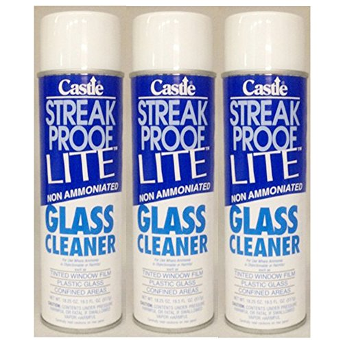 Castle Streak Proof Glass Cleaner Lite - Formulated for Plastic, Tinted Windows, Aircraft - Ammonia Free (3 Each 20 oz. Cans)