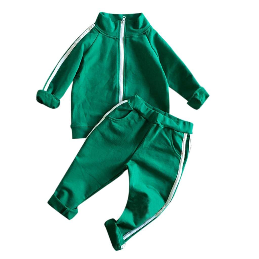 JERFER Kleinkind M/ädchen Jungs Lange /Ärmel Rei/ßverschluss Mantel und Lange Hose Outfits
