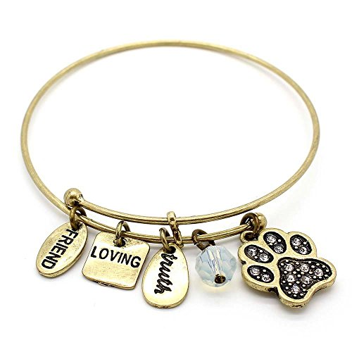 KIS-Jewelry Symbology 'Dog Paw' Bangle Bracelet, Brass Plated - Expandable Wire Charm Bracelet Accented with Crystal Stones and One Shiny Glass Bead - Perfect Jewelry for Fashion ()