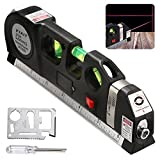 BRILLIFE Laser Leveler Spirit Level Line Lasers Ruler,Gradienter Horizontal Ruler Measure Line Laser 8ft Adjusted Standard & Metric Scale Measure Tape Ruler,[NEW Add 2pcs Tools As Surprise Gift]