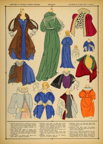 Louis Xiii Costume (1922 Pochoir Louis XIII Costume French Lady Coats Capes - Orig. Print (Pochoir))