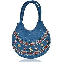 Belladona Women's Small Pot Cut Cotton Mirror Work Bag (Blue)