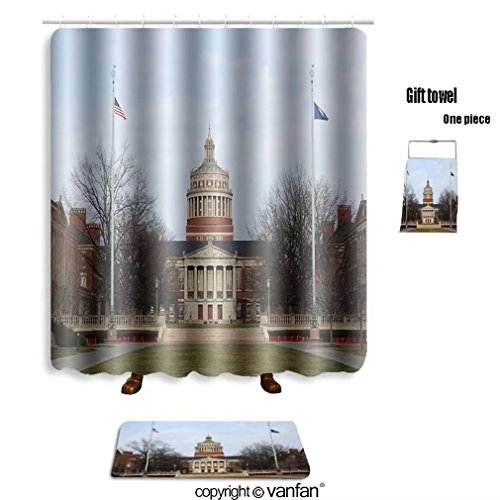 French Rush Seat Bench (vanfan bath sets with Polyester rugs and shower curtain rush rhees library in university of rochester shower curtains sets bathroom 69 x 72 inches&23.6 x 15.7 inches(Free 1 towel and 12 hooks))