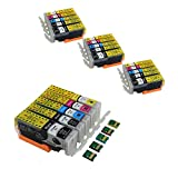 Komada 4 Sets Canon PGI-270 CLI-271 Sub-Cartridges, 1 Set with Permanent Chip and 3 Sets Chipless Cartridges for Replacement, Compatible Canon PIXMA MG5720 PIXMA MG5721