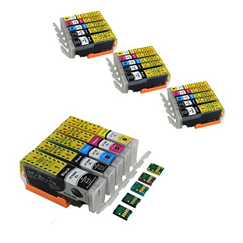 Komada 4 Sets Canon PGI-270 CLI-271 Sub-Cartridges, 1 Set with Permanent Chip and 3 Sets Chipless Cartridges for Replacement, Compatible Canon PIXMA MG5720 PIXMA MG5721 by Komada