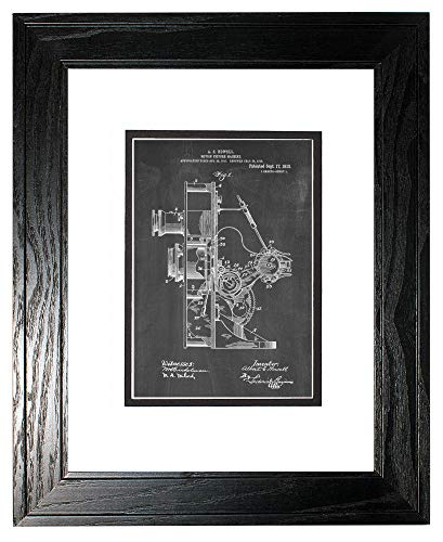 Motion-Picture Machine Patent Art Chalkboard Print in a Black Pine Wood Frame with a Double Mat (13