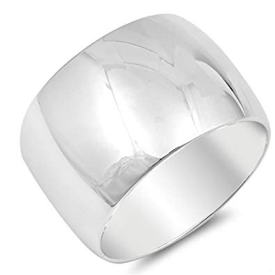 Amazon.com  Sterling Silver Thick Plain Band Ring  Jewelry 28e94b901