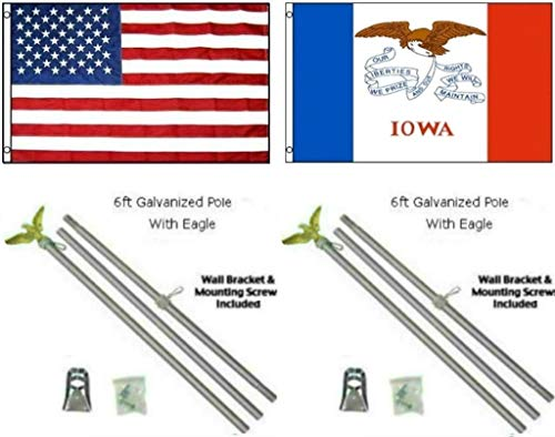 ALBATROS 3 ft x 5 ft USA American with State of Iowa Flag Galvanized Pole Kit Top for Home and Parades, Official Party, All Weather Indoors Outdoors