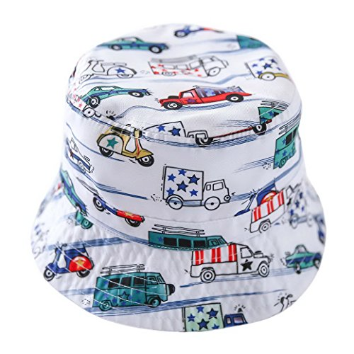 Toddler Cartoon Cars Wharf Hat Baby Crushable Cotton Bucket Hat UPF 50+ Sunhat Size 52 (Cartoon Pirate Hat)