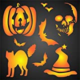 "HALLOWEEN DECOR STENCIL (size 7""w x 7""h) Reusable Stencils for Painting - Best Quality Scrapbooking Halloween Ideas - Use on Walls, Floors, Fabrics, Glass, Wood, Posters, and More…"