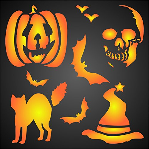 "HALLOWEEN DECOR STENCIL (size 7""w x 7""h) Reusable Stencils for Painting - Best Quality Scrapbooking Halloween Ideas - Use on Walls, Floors, Fabrics, Glass, Wood, Posters, and (Halloween Ideas)"