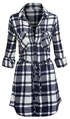 Women's Long Sleeve Button Down Plaid Flannel Belted Tunic Shirt Dress