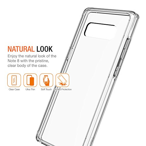Note 8 Case, Trianium Clarium Series For Samsung Galaxy Note 8 Case / Note8 Clear Hybrid Cover [Scratch Resistant] Ergonomic Cushion Shock-Absorbing TPU Bumper + PC Hard Back Panel - Clear (TM000229)