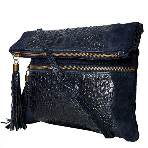 Bolsos estilo cartera ,Clutch , Bolso al hombro, (24,5 / 21 (28) / 2) Cuero & Cocodrilo, Mod. 2080 by fashion-formel Azul/Croco
