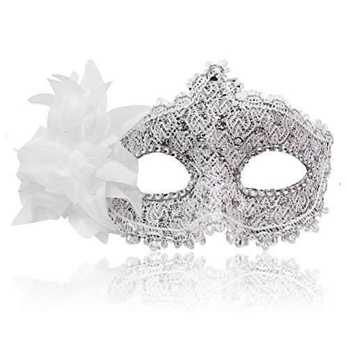 Masquerade Mask for Women Venetian Masks Christmas Women Flower Half-face Masks Eye mask Cosplay Lace mask (White)