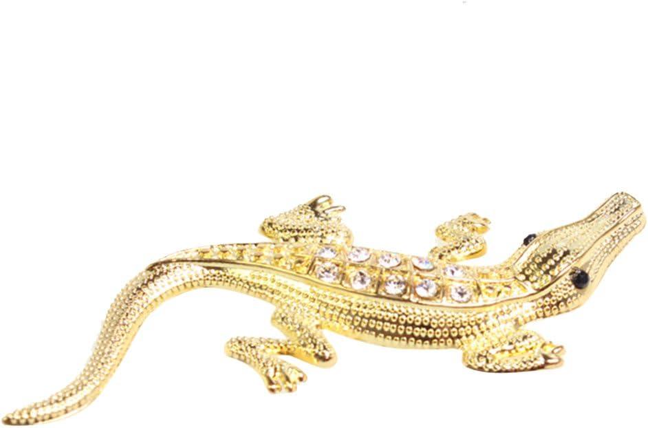 Car777 Car Decals 3D Metal Crocodile Rhinestones Car Styling Stickers Auto Decors - Golden