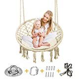 Greensen Hanging Swing Hammock Chair Set Macrame Design with Hanging Kit and Sitting Cushion for Indoor Bedroom and Outdoor Patio, DIY Family Fun Swings Chair for Kids and Adults, Support 250+ Lbs