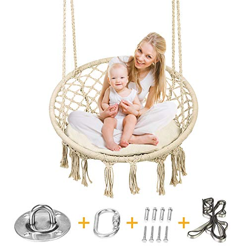 Greensen Hanging Swing Hammock Chair Set Macrame Design with Hanging Kit and Sitting Cushion for Indoor Bedroom and Outdoor Patio, DIY Family Fun Swings Chair for Kids and Adults, Support 250+ Lbs by Greensen (Image #8)