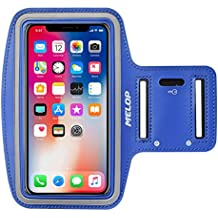 MELOP Armband for iPhone X 8 7 6 6S 5 5C 5S SE iPod Touch,Google Pixel 2, LG Q6, Essential Phone, BLU R1 HD Soft Sports Gym Arm band with Key Holder and Card Cash Pocket - Blue