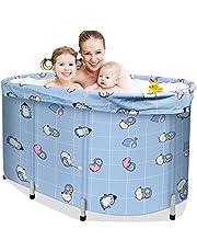 ETE ETMATE Draagbare opvouwbare badkuipen, opvouwbare badkuipen, cirkelvormige badkuipen voor douches, met deksels en dik isolatieschuim, volwassen en kind bad (Gift 5 stks badzakken)