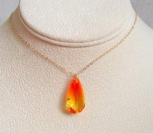 (Fancy Flaming Teardrop Crystal Pendant 20 Inch Gold Filled Necklace Made With Swarovski Gift Idea)