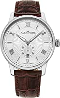 Alexander Statesman Regalia Wrist Watch For Men - Brown Leather Stainless Steel Analog Swiss Watch - Silver White Dial Date Small Seconds Mens Designer Watch A102-06